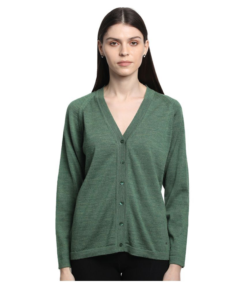 Monte Carlo Pure Wool Green Buttoned Cardigans