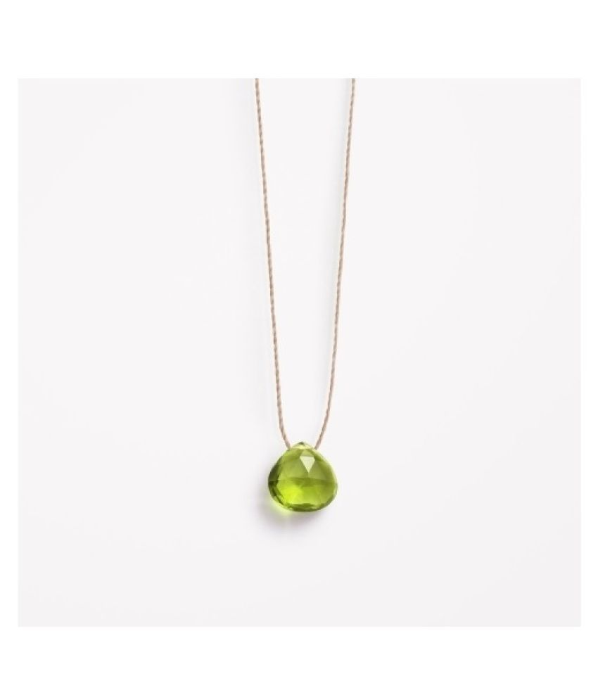 Peridot drop Crown Pendant in 7 carat Gold Plated without chain by Ratan Bazaar