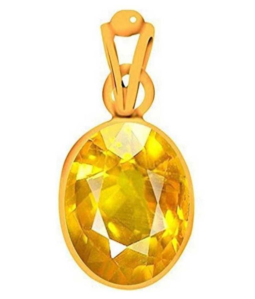 7.25 ratti stone pure Yellow Sapphire Gold Plated Pendant without chain for unisex by Kundli Gems\n