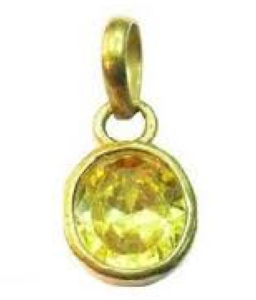 9.25 Ratti  Gold Plated Yellow Sapphire Stone Pendant without chain by Kundli Gems
