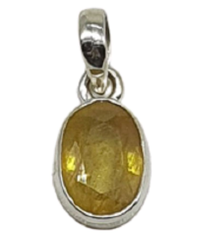 9.25 ratti Silver Adjustable Yellow Sapphire Pendant without chain for unisex by Ratan Bazaar\n