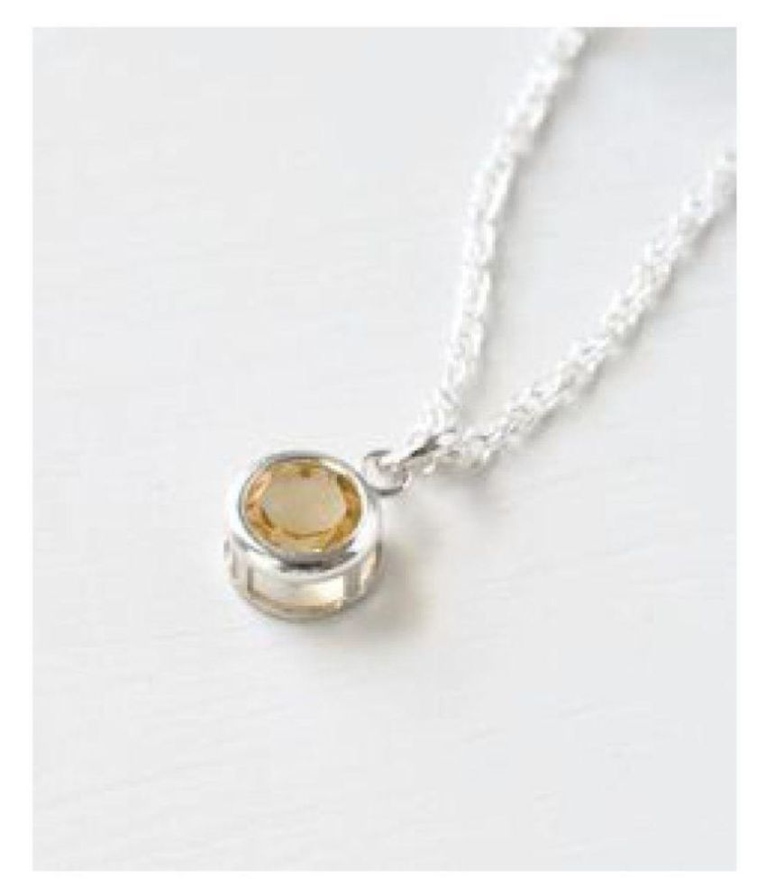 9 ratti Natural Yellow Sapphire Stone Unheated Lab Certified Silver Pendant without chain by Kundli Gems\n
