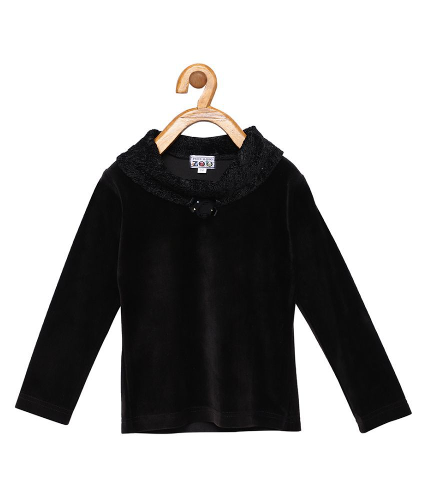 Peek a boo zoo Faux Velvet Black Solid Cowl Neck Full Sleeve Casual Sweater Girls Top