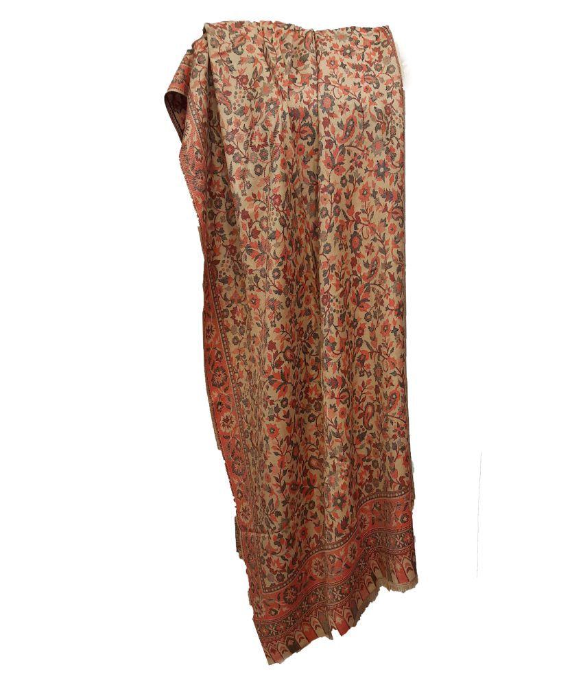 shah art gallery Beige Floral Wool Stoles