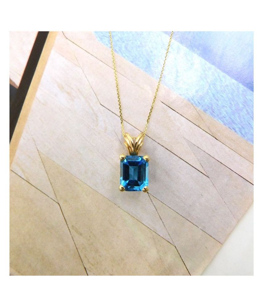 5.25 Ratti Gold Plated Topaz Stone Pendant without chain by Kundli Gems