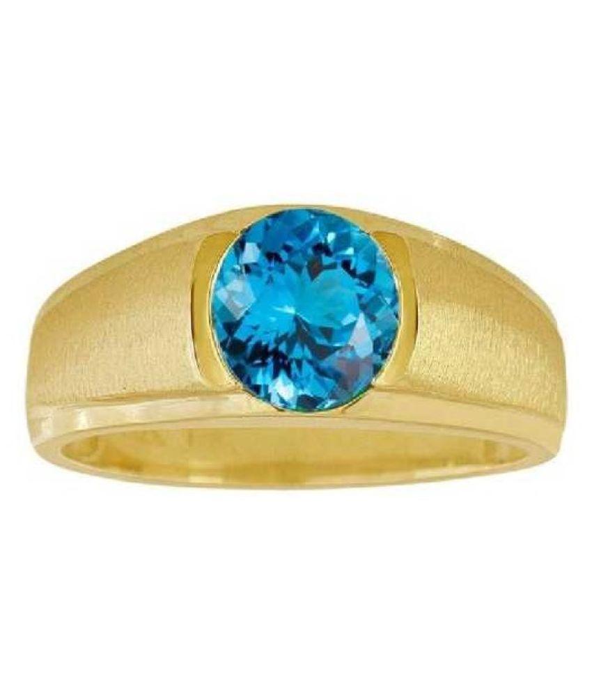 6 carat blue topaz Gold Plated Ring by Ratan Bazaar
