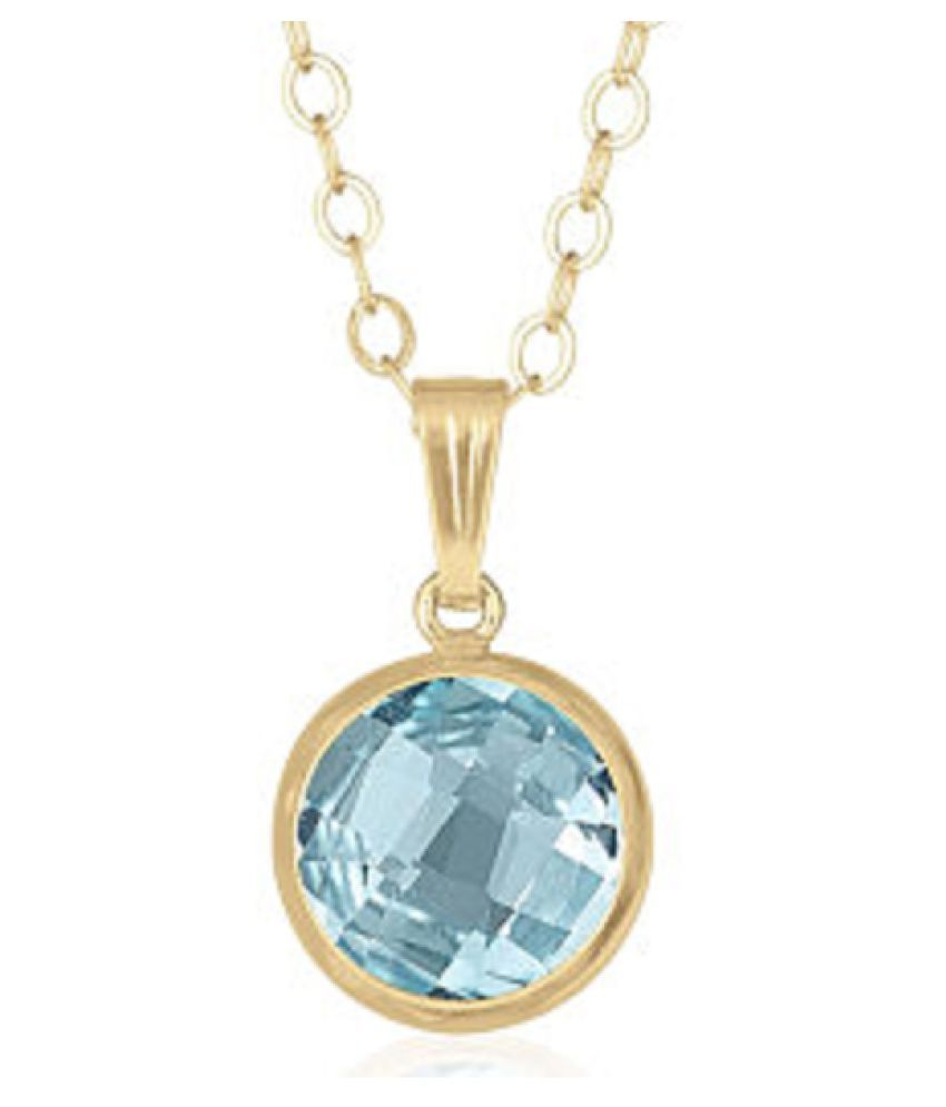 7.25 ratti stone pure Topaz Gold Plated Pendant without chain for unisex by Ratan Bazaar\n
