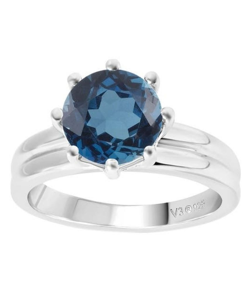 9.5 ratti natural topaz Stone pure silver Ring for unisex byKUNDLI GEMS\n