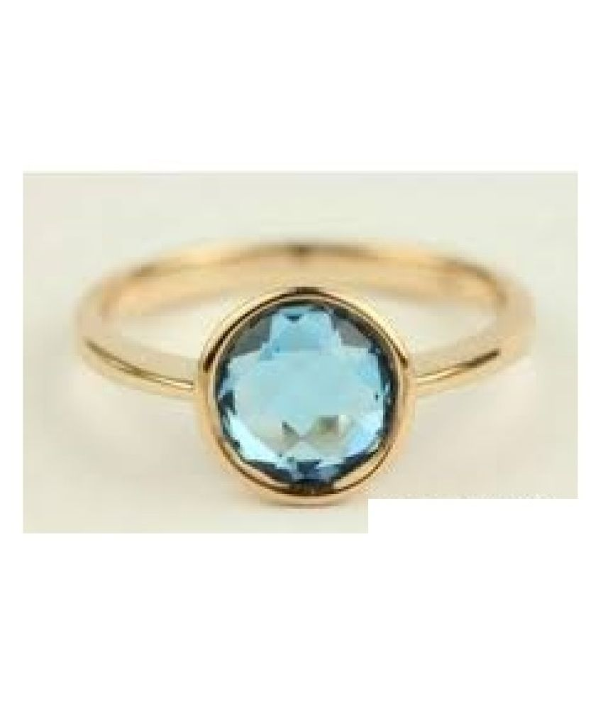 9 Carat Natural Stone Gold Plated blue topaz Ring for unisex by Ratan Bazaar\n