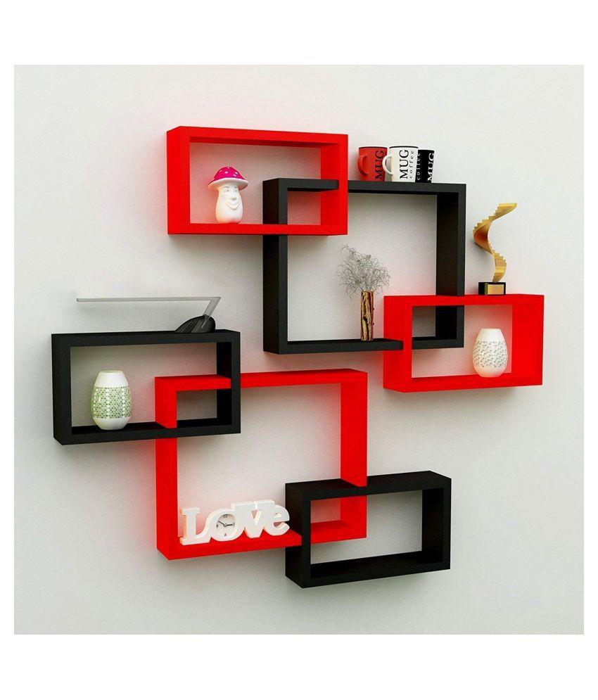 Home Design Mart MDF Rectangular Intersecting Wall Mounted Shelf Set of 6 (Standard, Red & Black)