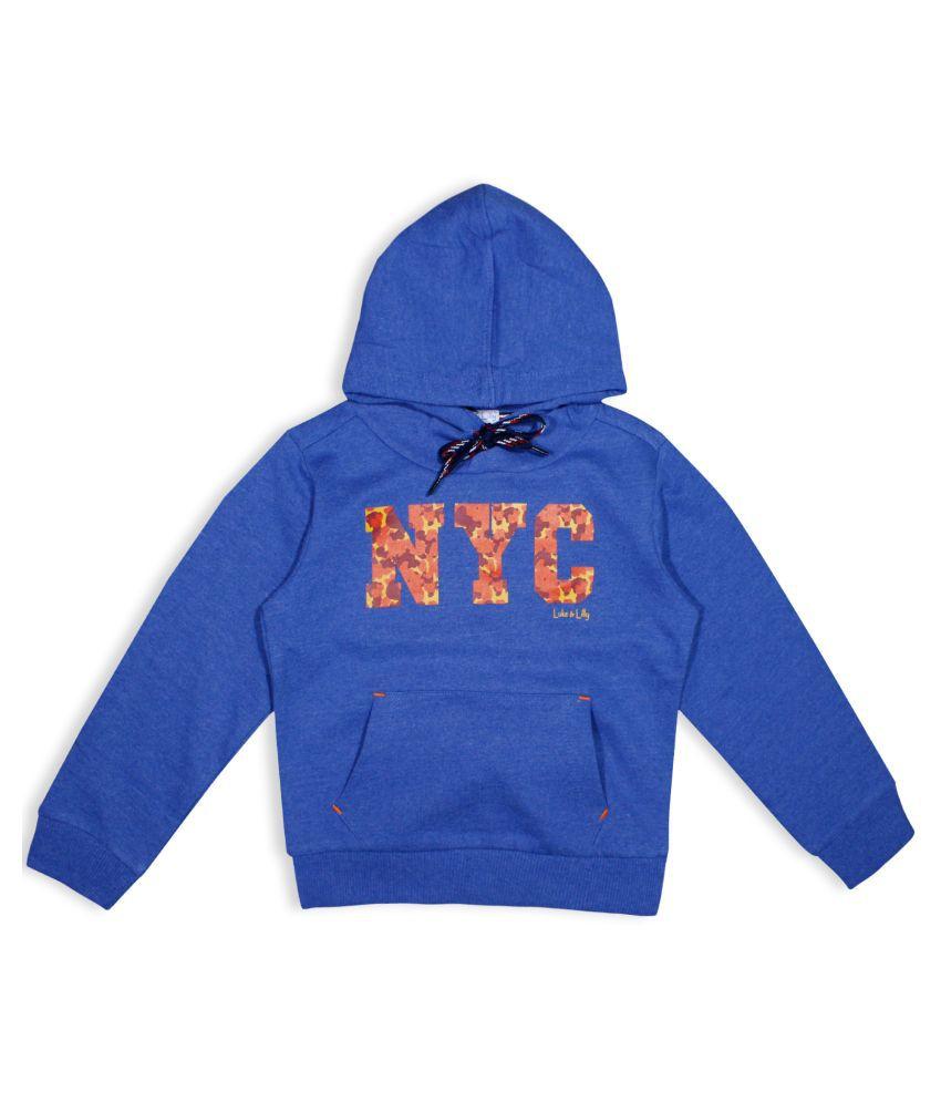 Luke and Lilly Boys Fleece FullSleeve Hood sweater Blue_Pack of 1