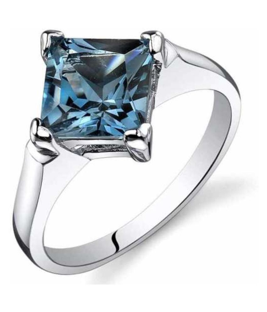 Moti Ring 5 ratti Natural topaz Silver Ring byKUNDLI GEMS