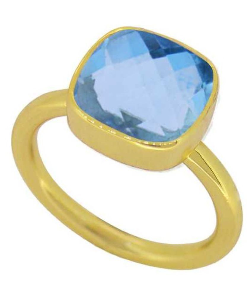 gold plated blue topaz Stone Ring 9.25 carat by Ratan Bazaar