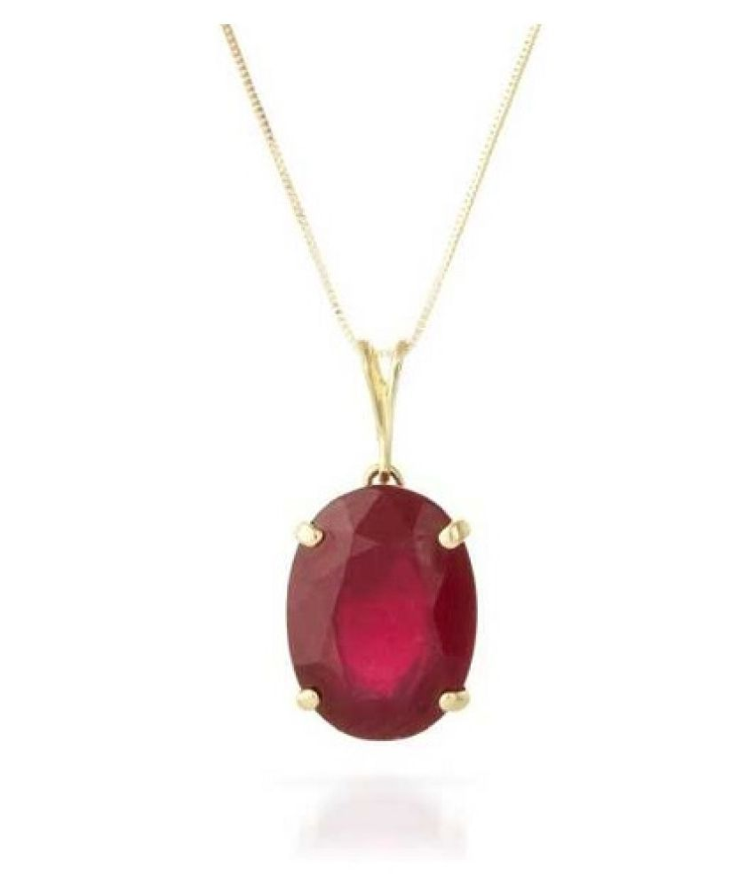 6.25 Ratti White Gold Plated Ruby Stone Pendant without chain by Kundli Gems