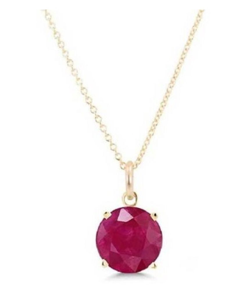 9.25 ratti stone pure Ruby Gold Plated Pendant without chain for unisex by Kundli Gems\n