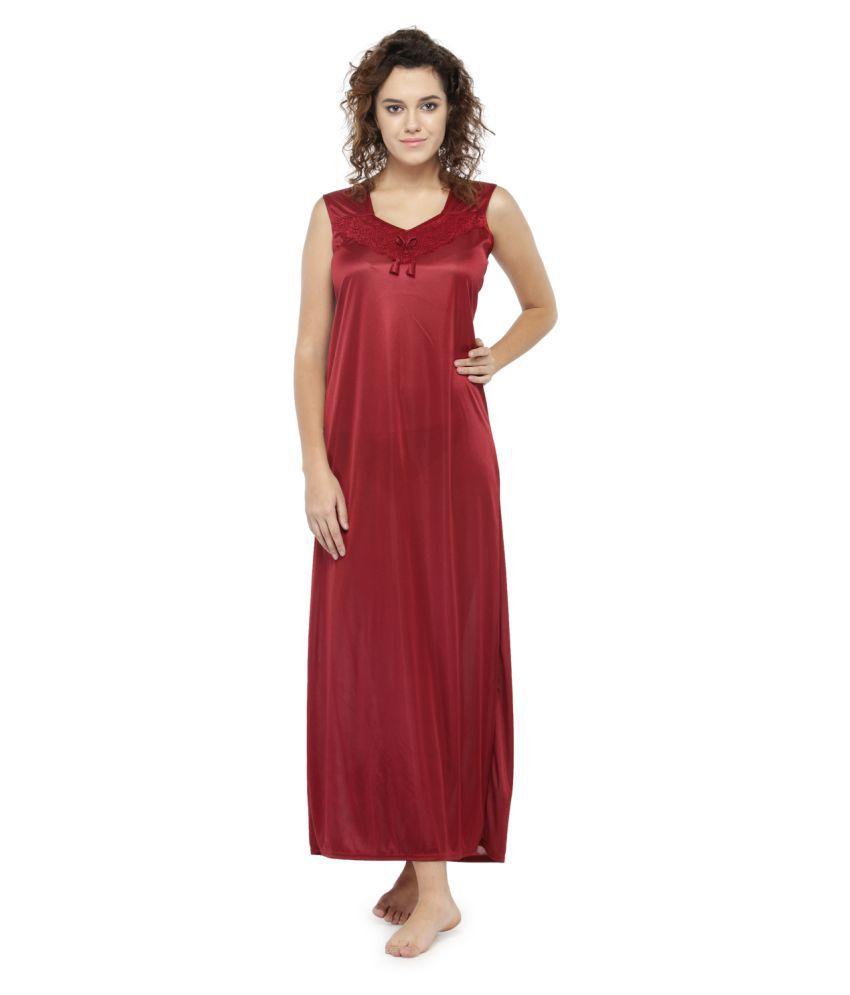 Avenew Fashions Nylon Nighty & Night Gowns - Maroon