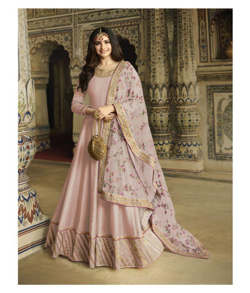 Fashion Hut Pink Silk Anarkali Semi-Stitched Suit