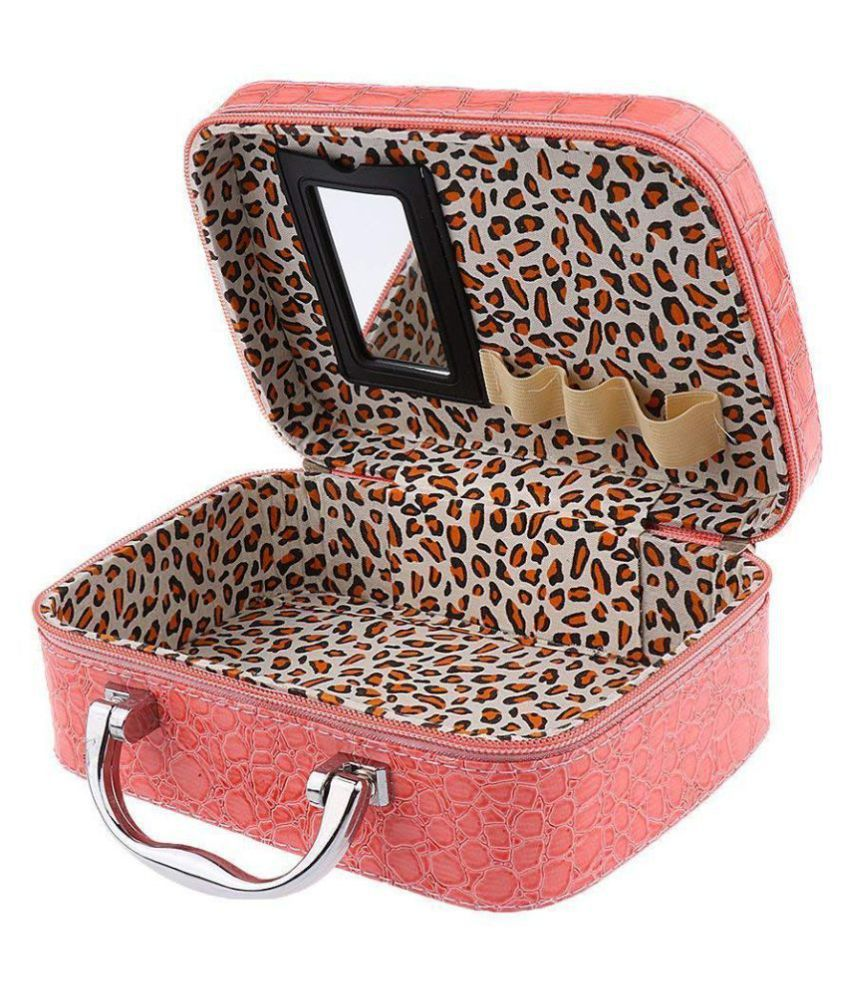 Latest Stylish Makeup Bag for Women | Cosmetic Storage Boxes | Jewellery Organizer | Toiletry Box with Compact Magnifying Mirror for Travel (Multi-Colour)