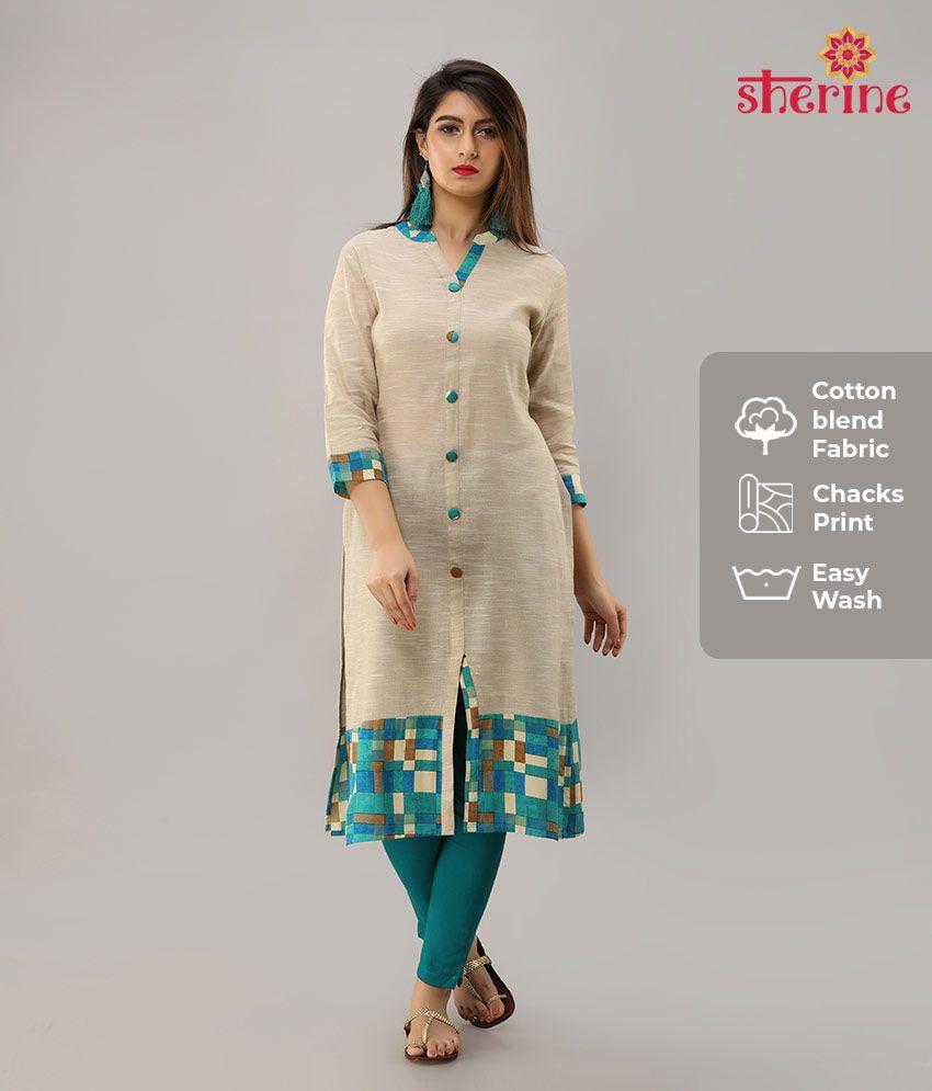 Sherine Turquoise Cotton Blend Straight Kurti