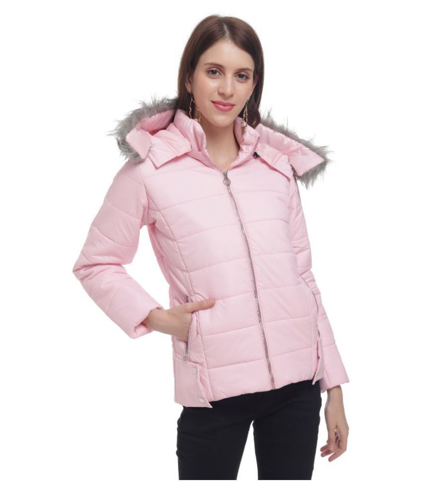 The Millions Club Cotton Blend Pink Hooded Jackets