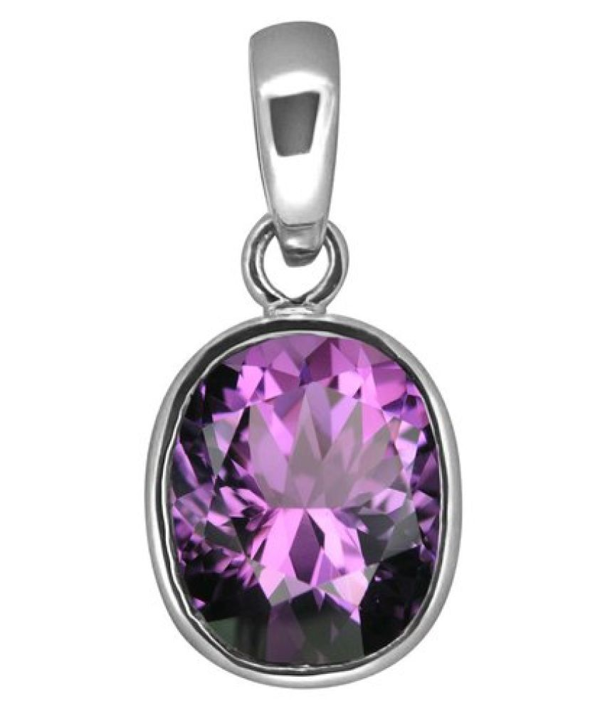 5.25 ratti Silver Amethyst Pendant without chain for unisex by Kundli Gems\n