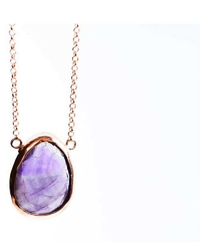 7 Ratti Amethyst Pendant with Natural Gold Plated Amethyst Stone without chain by Ratan Bazaar
