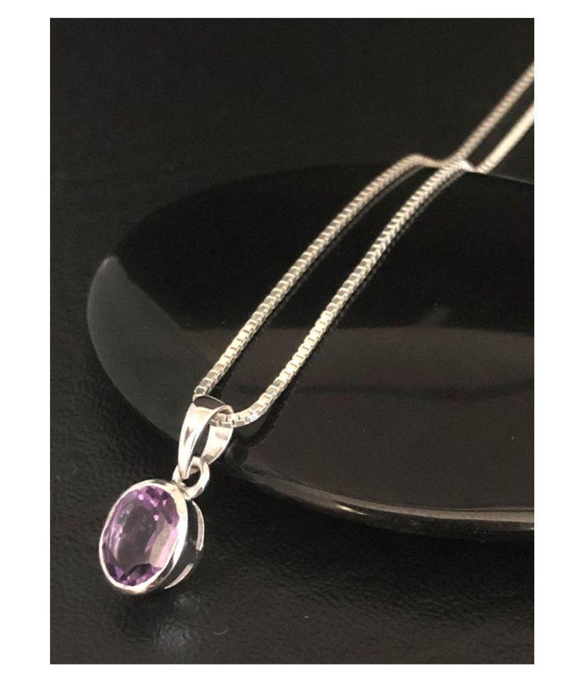 Certified 5.5 Carat  Silver Amethyst(Jamuniya) Stone Pendant without chain by Kundli Gems