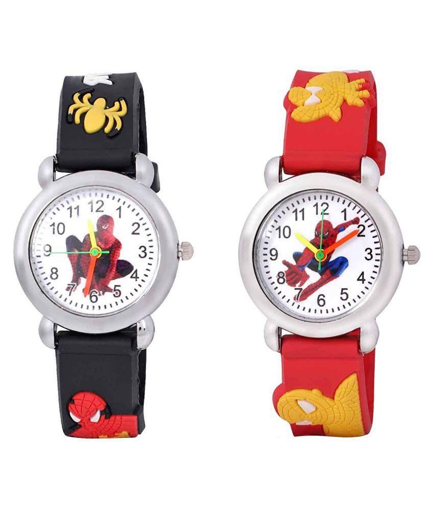 JINGJOP Analog White Dial multicolour Boys & Girls Wrist Watch Pack of 2
