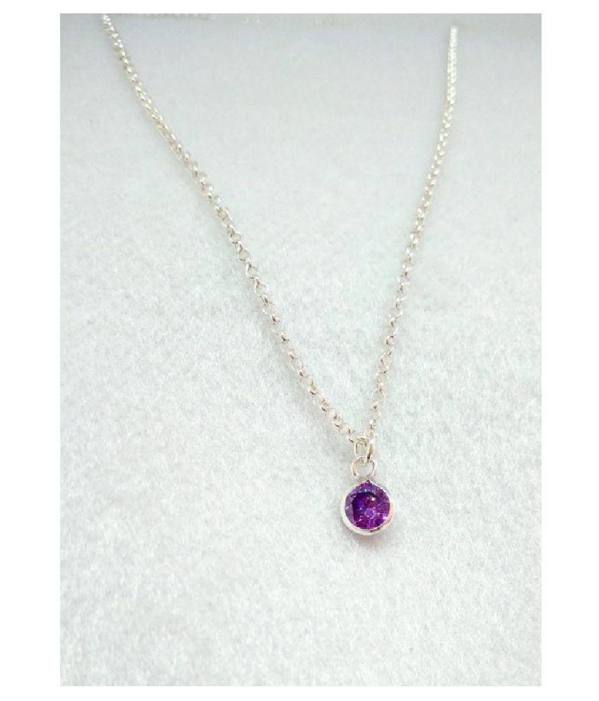 6.25 ratti Silver Amethyst(Jamuniya)  Pendant without chain for unisex by Kundli Gems\n