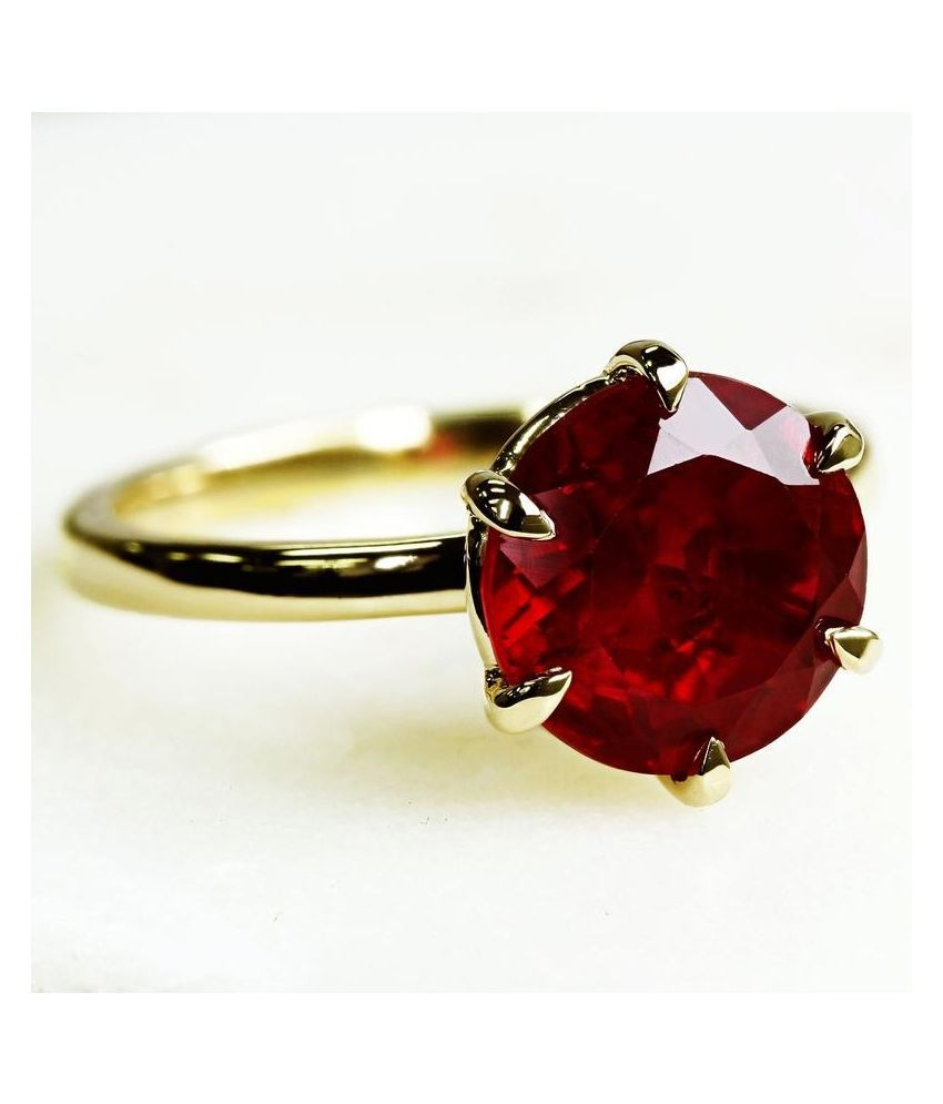 6 Carat Lab Certified  Gold Plated Ruby Moti Ring  for unisex by Ratan Bazaar