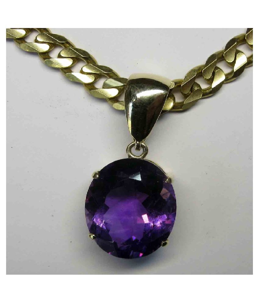 9.25 carat Natural Gold Plated Amethyst(Jamuniya)Pendant without chain by Kundli Gems\n