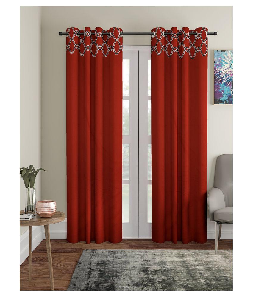 Blanc 9 Single Long Door Rod Pocket Cotton Curtains Red