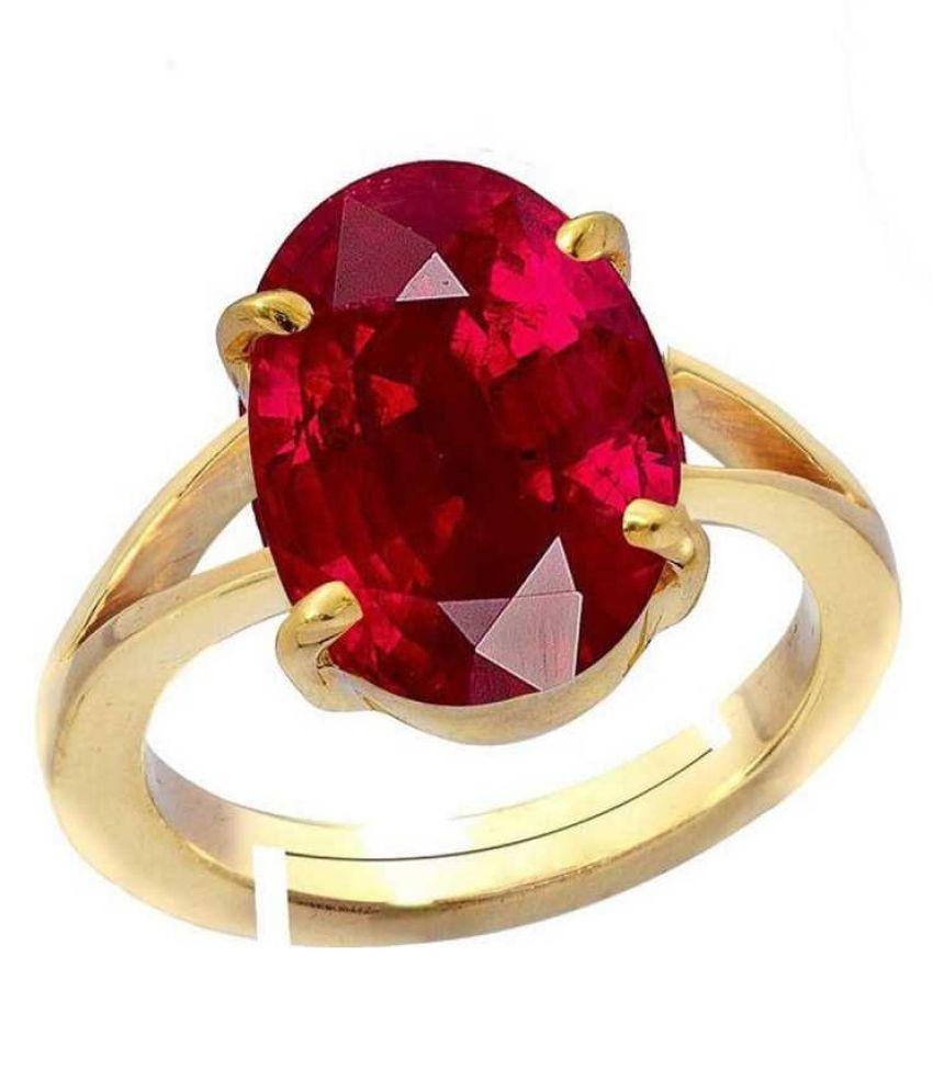 Gold Plated Ruby(Manik) Ring 5.5 ratti Moti  Ruby(Manik) ring byRatan Bazaar