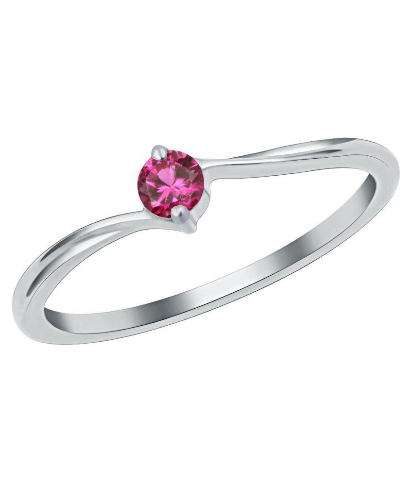 Moti Ring 7 ratti Natural Ruby(Manik) Silver Ring byKUNDLI GEMS