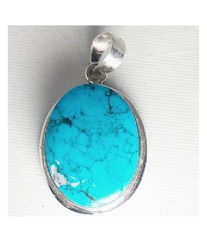 5.25 ratti Silver Turquoise (Firoza)  Pendant without chain for unisex by Kundli Gems\n