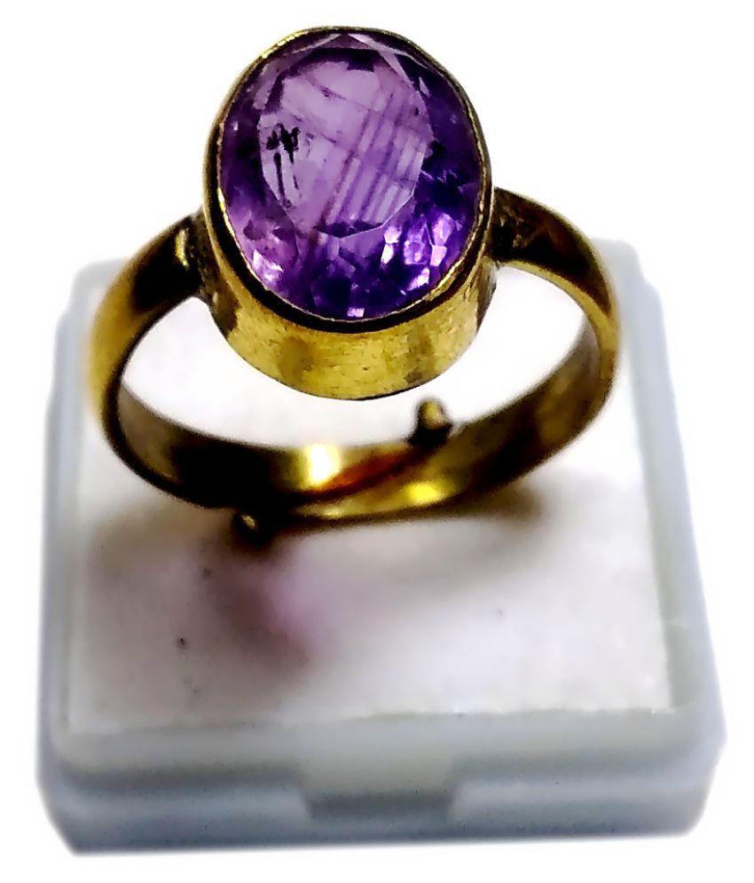 Certified Katela Amethyst Ring 6.25 Ratti Original Natural Jamuni Purple Untreated African Amethyst Katela Adjustable Ring Gem Stone for Unisex