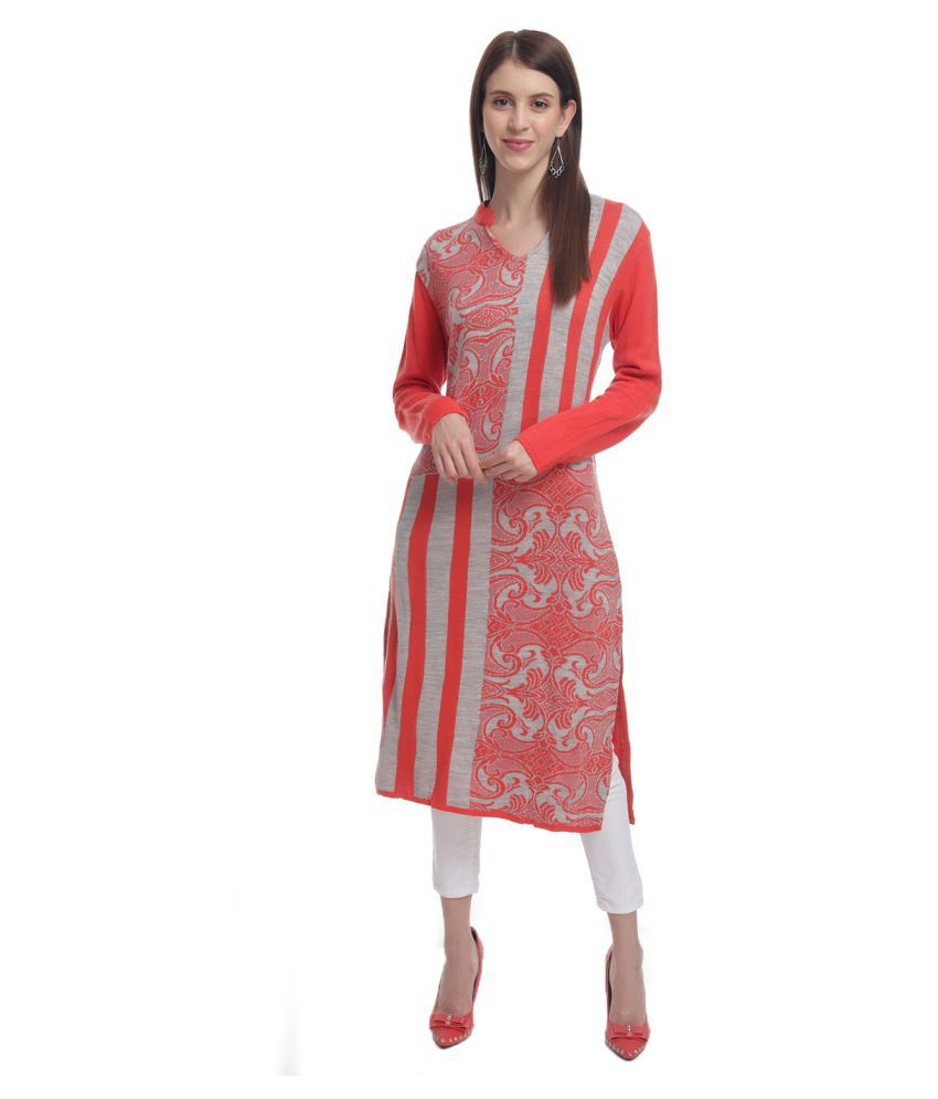 HaltonHills Orange Acrylic Straight Kurti