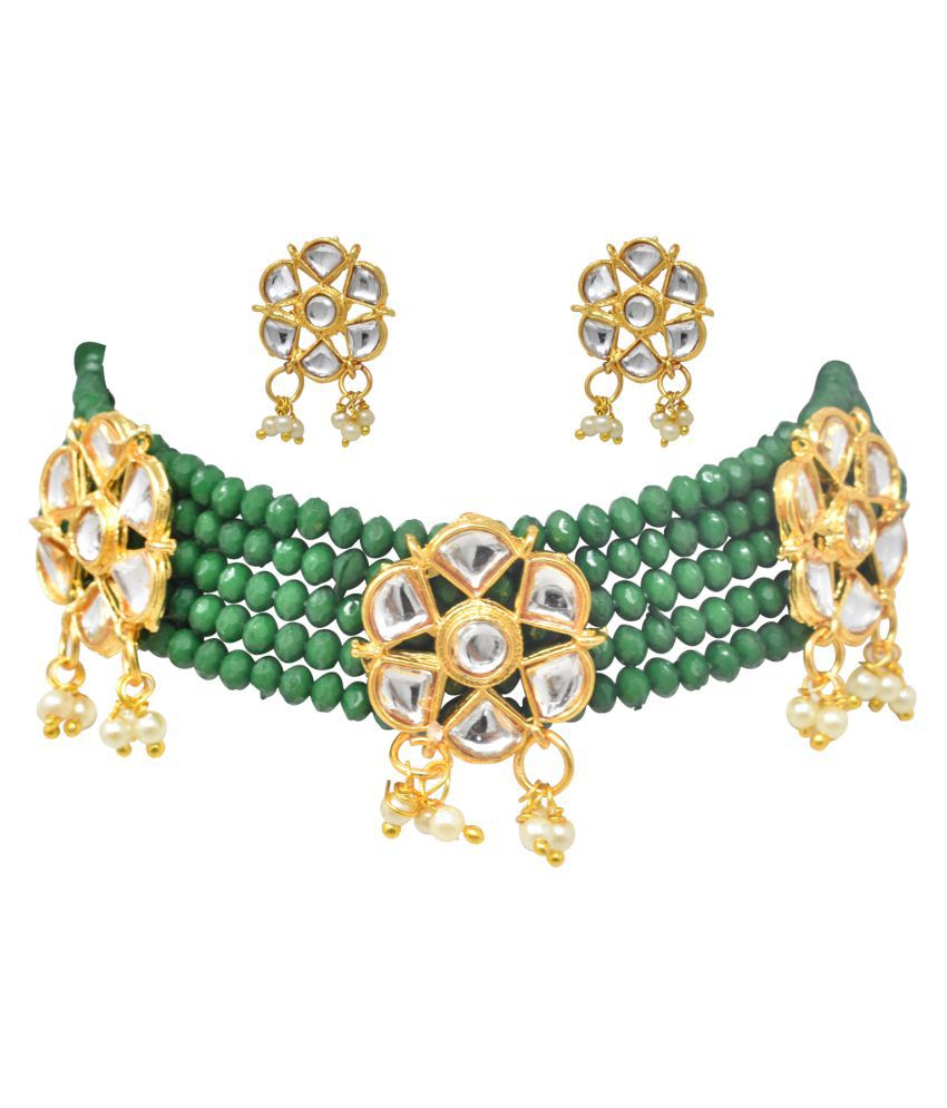 Jaishree Jewels Alloy Green Contemporary Designer Gold Plated Necklaces Set