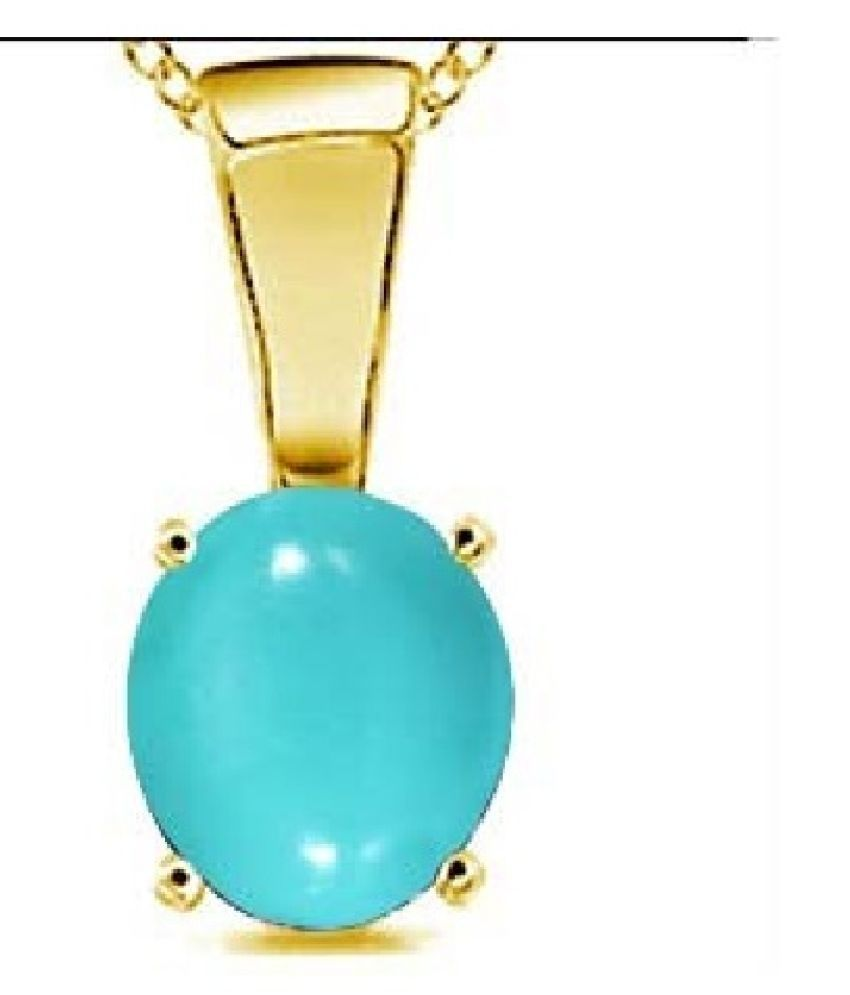 Kundli Gems-  5 Carat Turquoise Pendant with Natural Turquoise Stone Astrological & Lab Certified Gold Plated Turquoise Stone