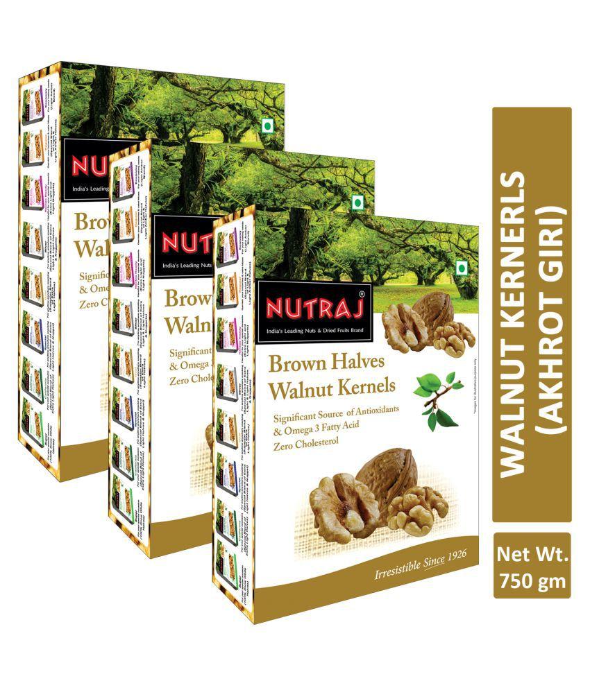 Nutraj Brown Halves Walnut Kernels 250g (Pack of 3)