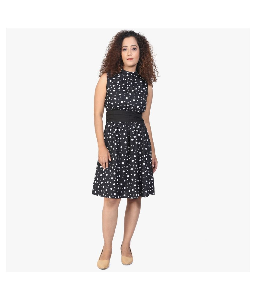 WOZTY Crepe Black Fit And Flare Dress
