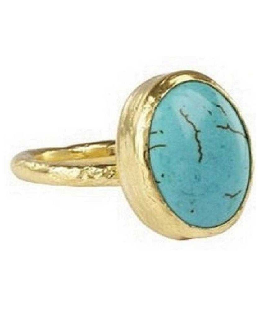 10.25 Ratti  Gold Plated Original Turquoise Ring  Lab Certified Stone by Kundli Gems\n