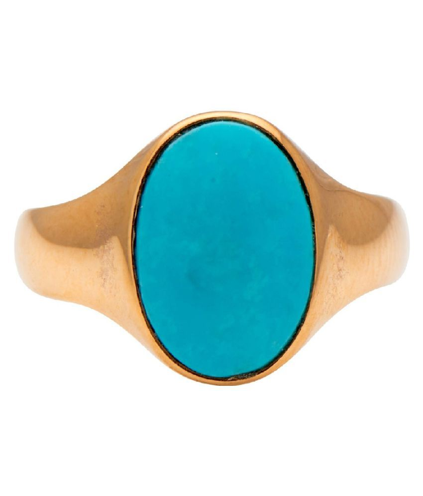 4 carat only Turquoise Ring with Natural Turquoise & Lab Certified  Gold Plated Turquoise by Kundli Gems