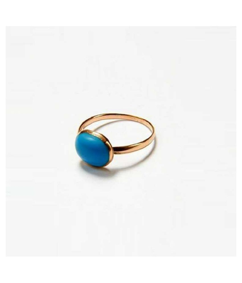 7.25 Ratti    Gold Plated Turquoise Stone Ring  by Kundli Gems