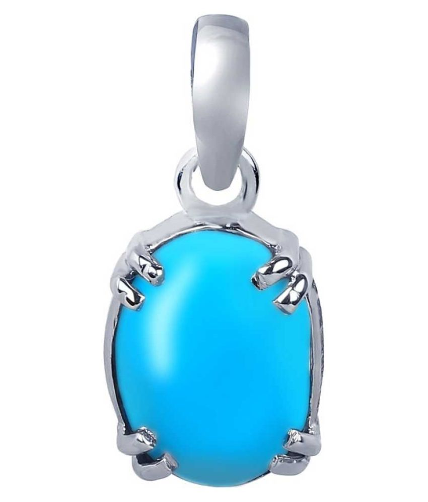 7.5 ratti natural Turquoise Stone pure Silver Pendant without chain for unisex by Kundli Gems\n