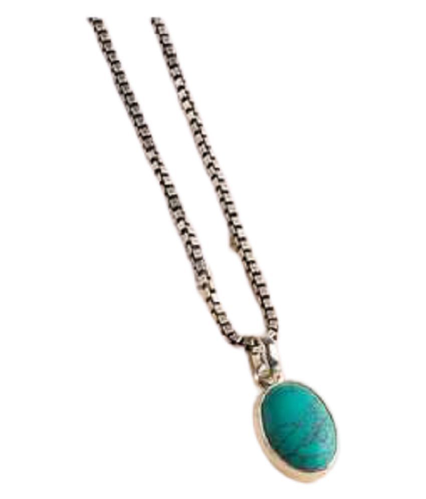 Pendant 6 ratti Natural Turquoise  Gold Plated Pendantwithout chain by Kundli Gems