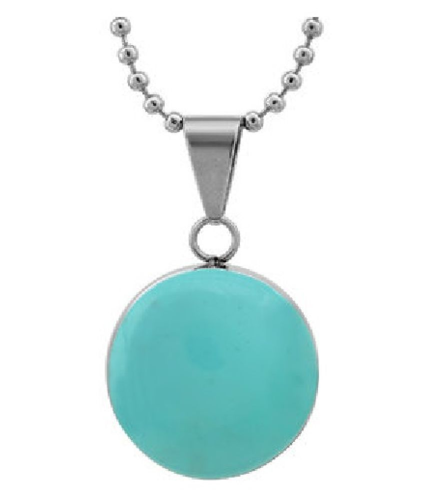 10.25 carat Natural Silver Turquoise (Firoza)  Pendant without chain by Kundli Gems\n