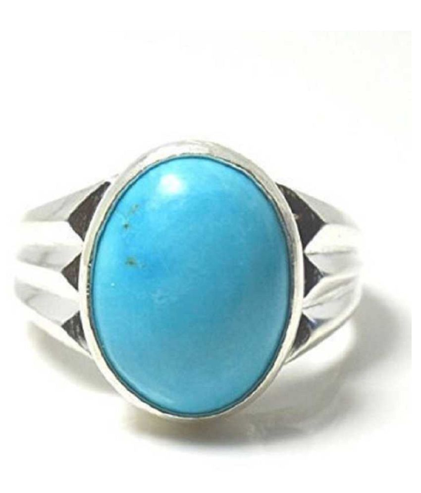 7.25 ratti Ring Natural Turquoise Sterling Silver  Ring by Kundli Gems