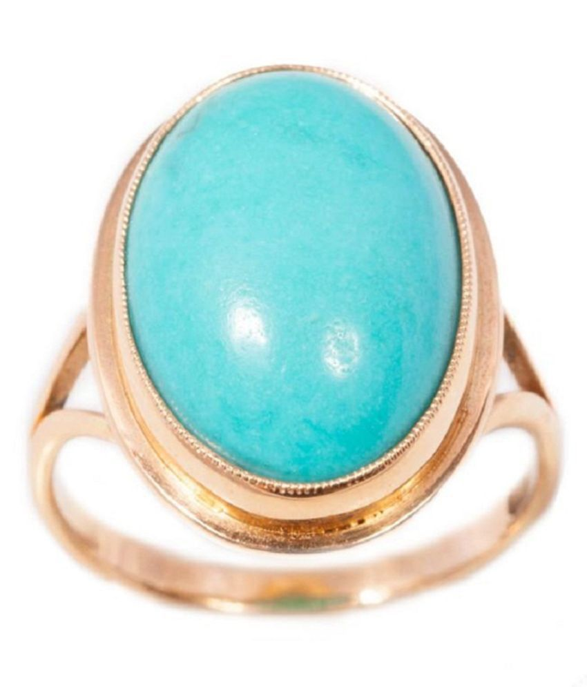 8.25 ratti Ring Natural Turquoise  Gold Plated  Ring by Kundli Gems