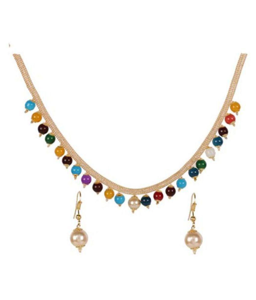 Jaishree Jewels Alloy Multi Color Statement Designer Gold Plated Necklaces Set